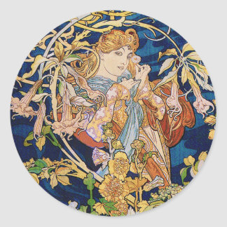 Mucha Art Nouveau: Woman With Daisy Classic Round Sticker