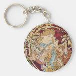Mucha Art Nouveau: Woman With Daisy Keychain