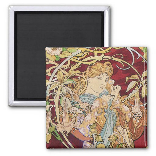 Mucha Art Nouveau: Woman With Daisy Magnets