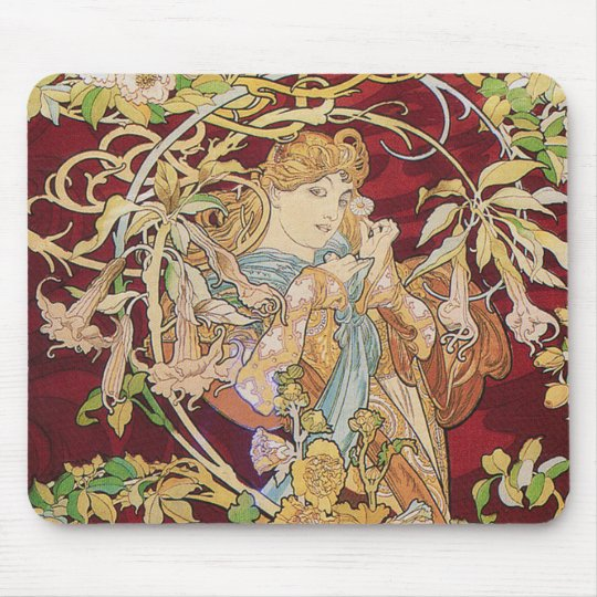 Mucha Art Nouveau: Woman With Daisy Mouse Pad