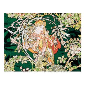 Mucha Art Nouveau Woman With Daisy Postcard
