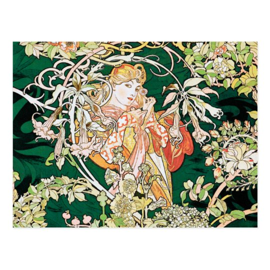 Mucha Art Nouveau: Woman With Daisy Postcard