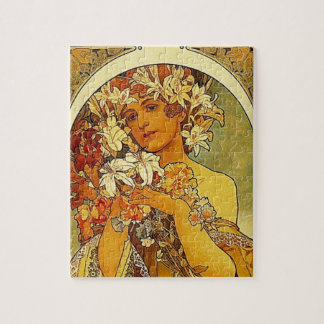 Mucha Art Nouveau woman with lilies Jigsaw Puzzle