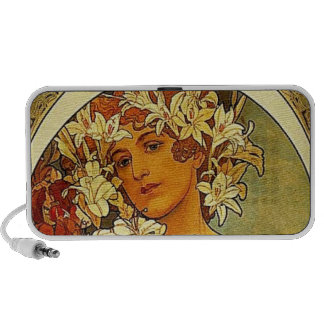 Mucha Art Nouveau woman with lilies Mp3 Speakers
