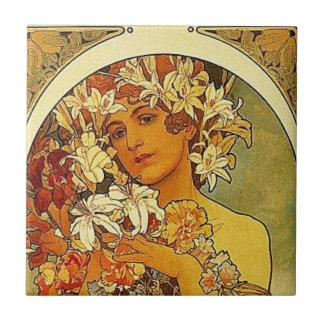 Mucha Art Nouveau woman with lilies Tile