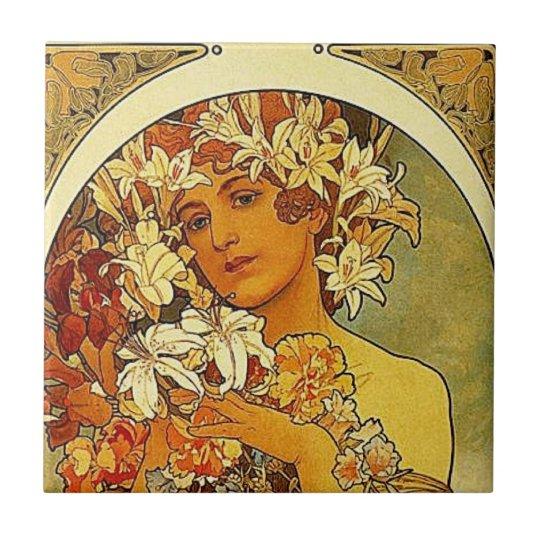 Mucha Art Nouveau Woman With Lilies Tile Zazzle Com