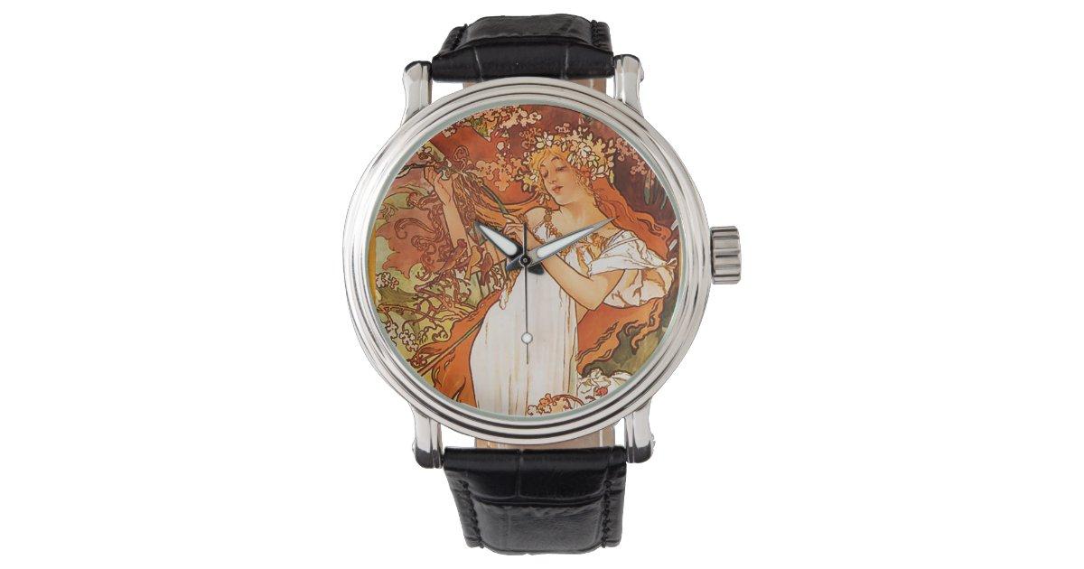 Mucha art nouveau wrist watch zazzle for Minimal art wrist watch