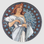 Mucha art white dress woman spoon cup stickers