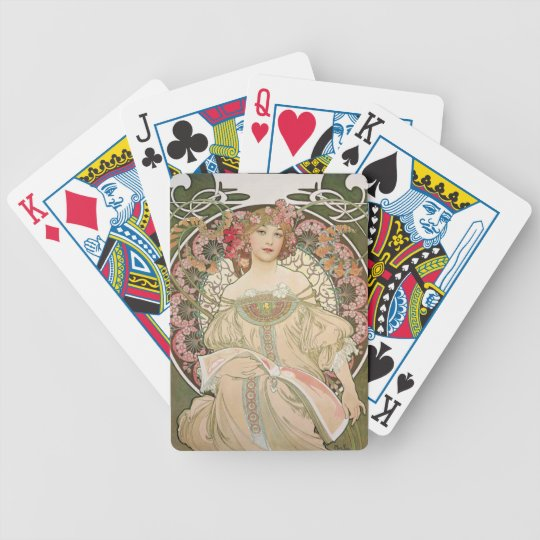 Mucha - Beautiful Lady - Art Nouveau Bicycle Playing Cards