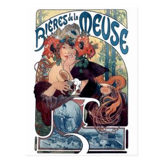 Mucha beer Bieres de la Meuse vintage ad Postcard