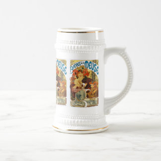 Mucha -  Bieres de la Meuse (Beer of the Muse) 18 Oz Beer Stein