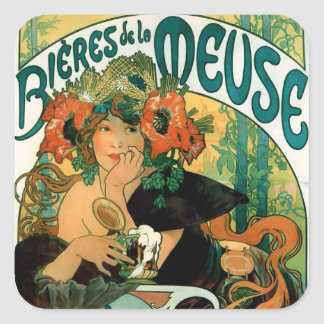 Mucha:  Bieres de la Meuse (Beers of the Muse) Square Sticker