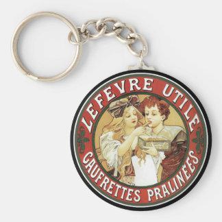 Mucha - Biscuits LeFevre-Utile - Nouveau Basic Round Button Keychain