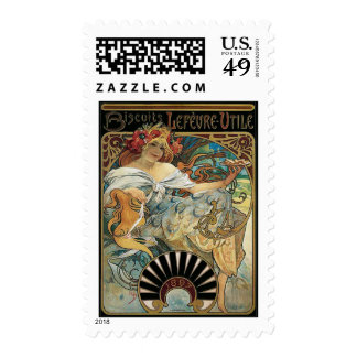 Mucha Biscuits Postage Stamps
