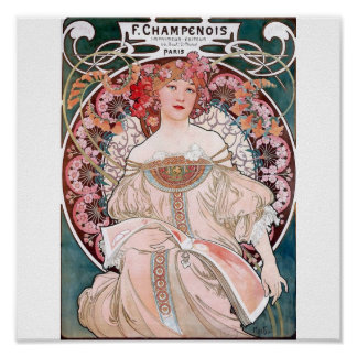 Mucha champenois paris pink dess poster