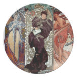 Mucha collage dance lorenzaccio paris dinner plate