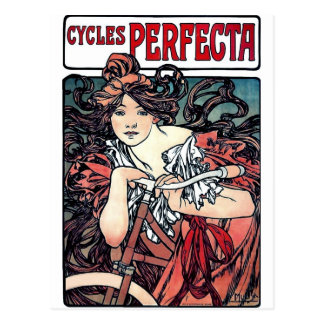 Mucha cycles perfecta woman bicycle red dress postcard