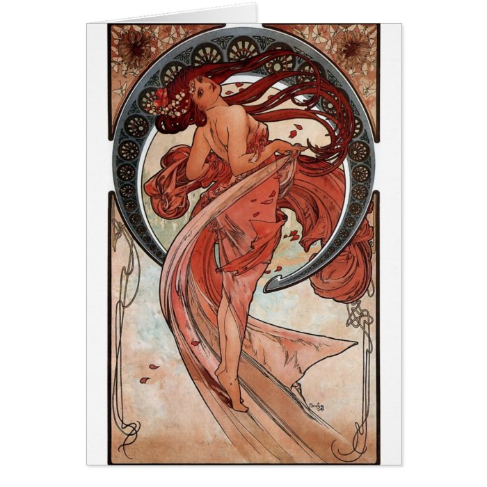 Mucha dance art deco lady card