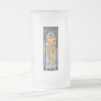 mucha day woman art deco flowers female frosted glass beer mug