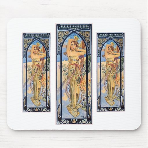 mucha day woman art deco flowers female mouse pad