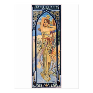mucha day woman art deco flowers female postcard