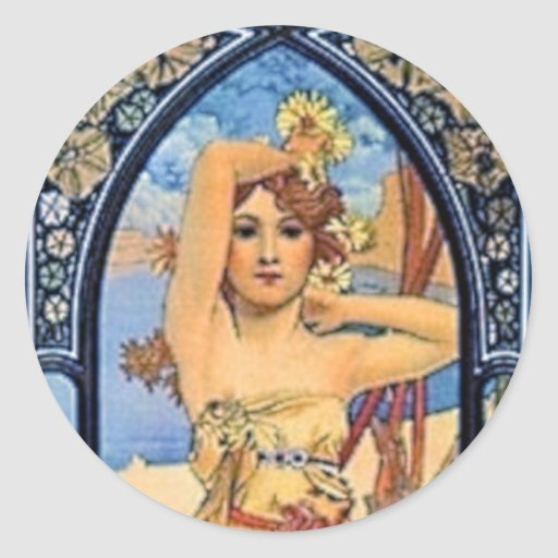 mucha day woman art deco flowers female round sticker