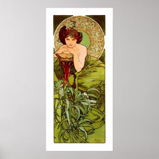 Mucha - esmeralda - piedras preciosas de la serie póster