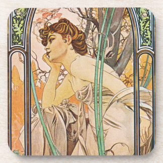 Mucha Evening Reverie Art Nouveau Coaster Set
