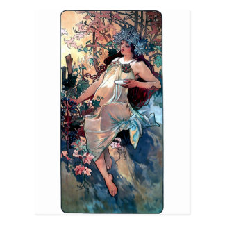 mucha fall autumn art nouveau poster postcard