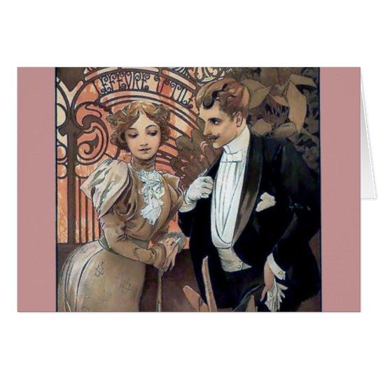Mucha flirt woman man romantic love card
