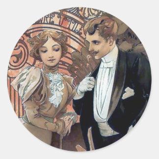 Mucha flirt woman man romantic love classic round sticker