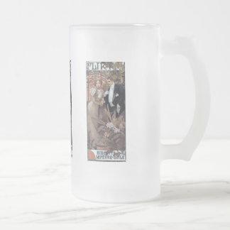Mucha flirt woman man romantic love frosted glass beer mug