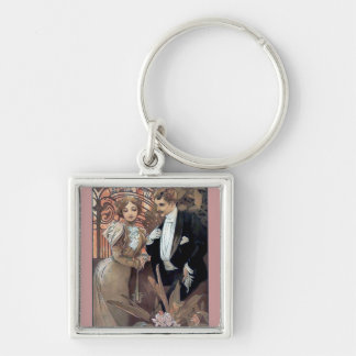 Mucha flirt woman man romantic love keychain