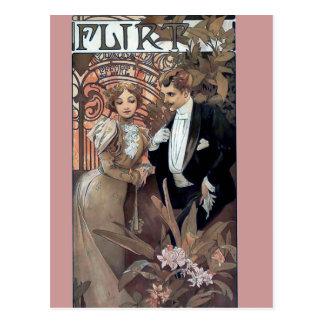 Mucha flirt woman man romantic love postcard