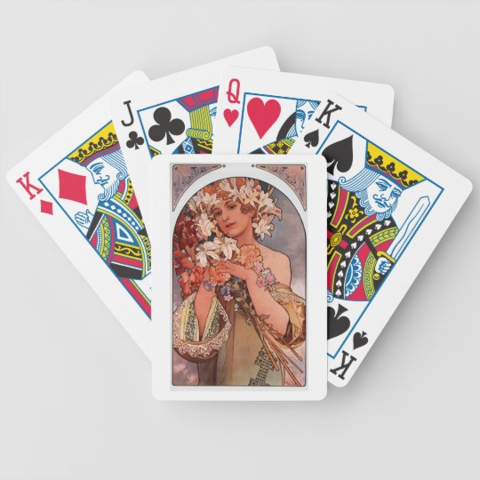 Mucha - Flower - Art Nouveau Bicycle Playing Cards