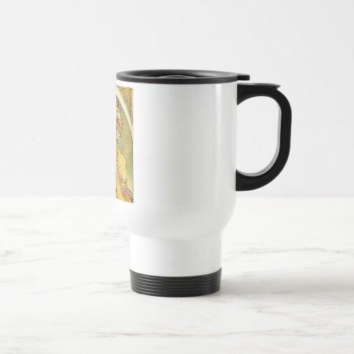 mucha flowers 15 oz stainless steel travel mug