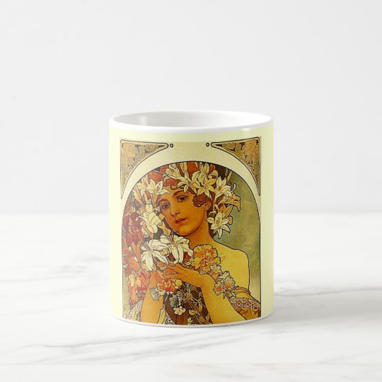 mucha flowers coffee mug
