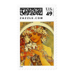 mucha flowers postage stamps