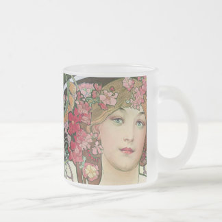 Mucha Frosted Glass Coffee Mug