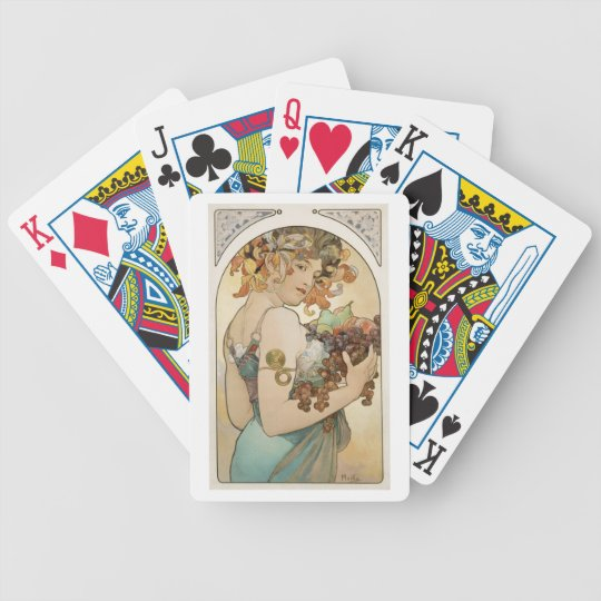 Mucha - Fruit Girl - Art Nouveau Bicycle Playing Cards