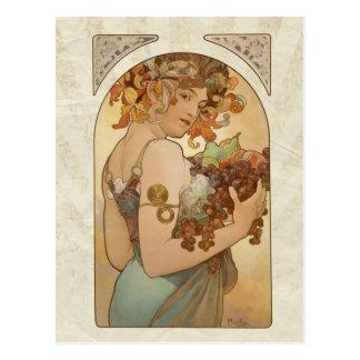 Mucha Fruits Vintage Design Postcard
