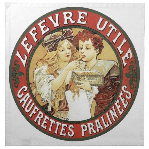 Mucha - galletas LeFevre-Utile - Nouveau Servilletas Imprimidas