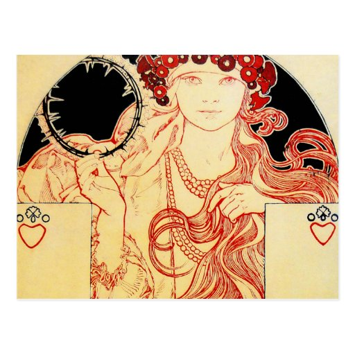 Mucha ~ Girl from Brooklyn Exhibition Poster Postcard