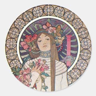 Mucha Goddess Classic Round Sticker