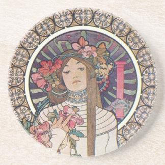 Mucha Goddess Sandstone Coaster