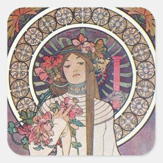 Mucha Goddess Square Sticker