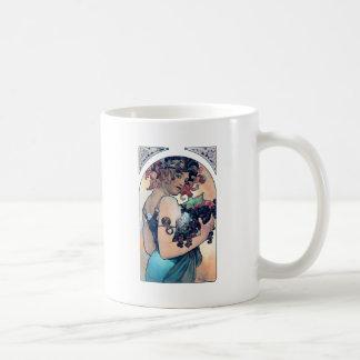 mucha grapes art deco woman fruits fall coffee mug
