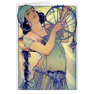mucha gypsy tambourine dance music woman card