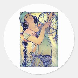 mucha gypsy tambourine dance music woman classic round sticker