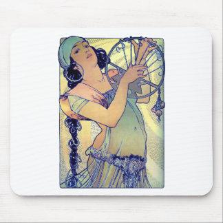 mucha gypsy tambourine dance music woman mouse pad